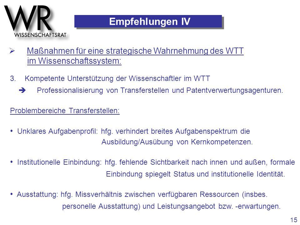 Empfehlungen IV  Maßnahmen für eine strategische Wahrnehmung des WTT