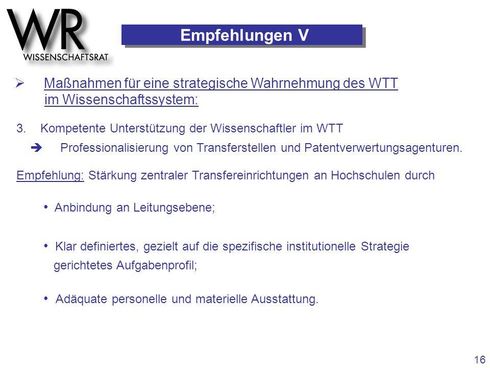 Empfehlungen V  Maßnahmen für eine strategische Wahrnehmung des WTT