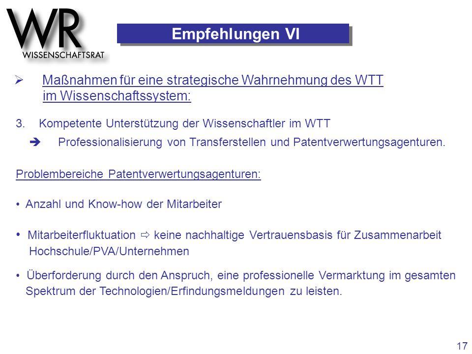 Empfehlungen VI  Maßnahmen für eine strategische Wahrnehmung des WTT