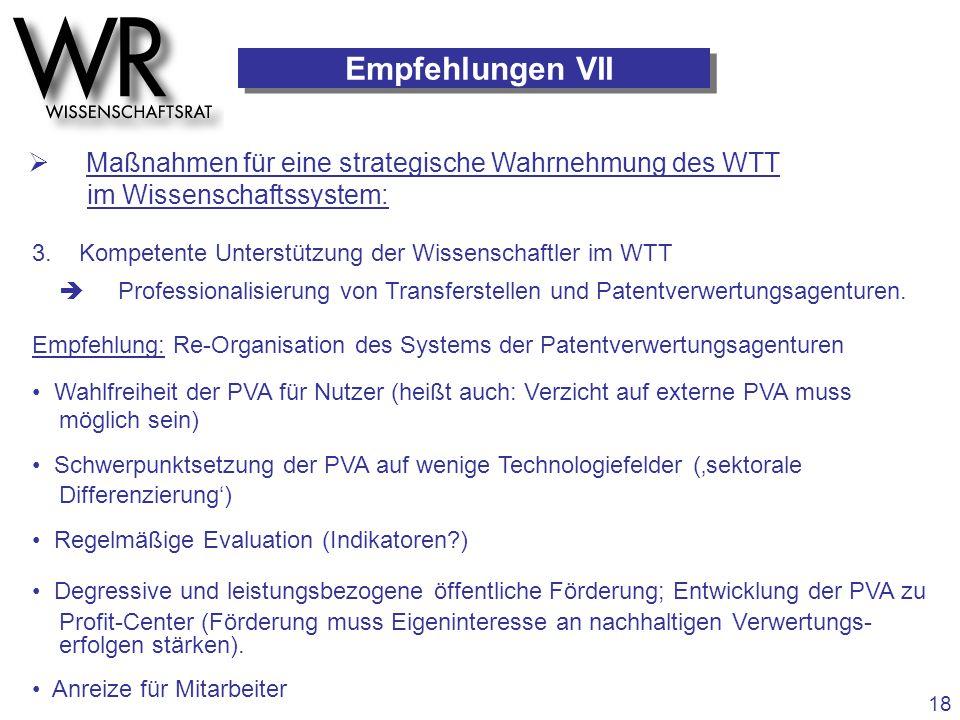 Empfehlungen VII  Maßnahmen für eine strategische Wahrnehmung des WTT