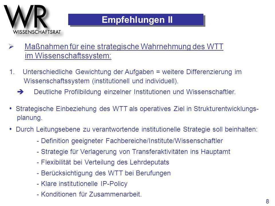 Empfehlungen II  Maßnahmen für eine strategische Wahrnehmung des WTT