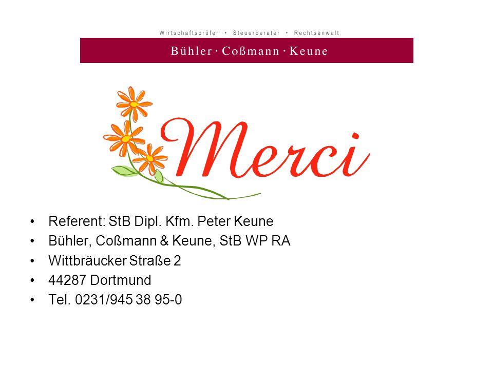 Referent: StB Dipl. Kfm. Peter Keune
