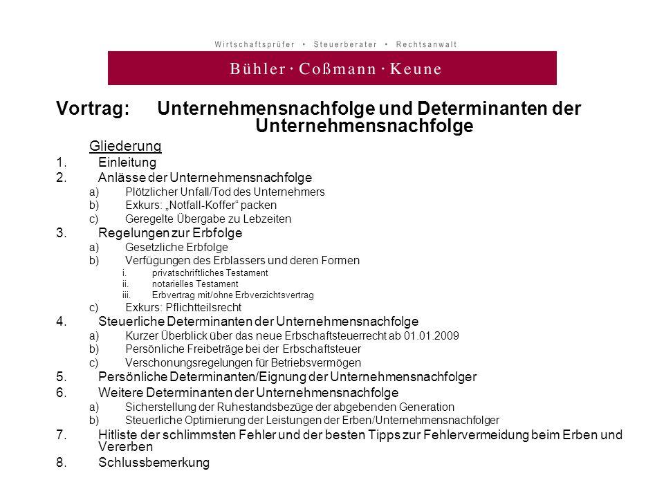 Vortrag: Unternehmensnachfolge und Determinanten der