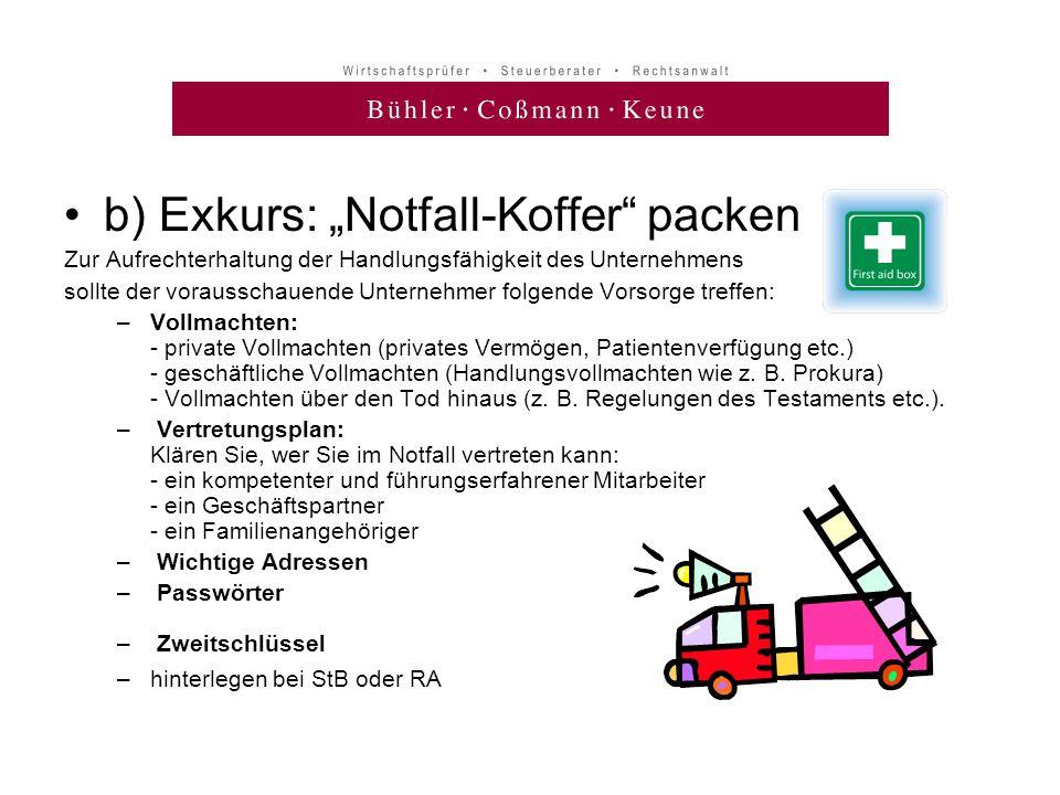 """b) Exkurs: """"Notfall-Koffer packen"""