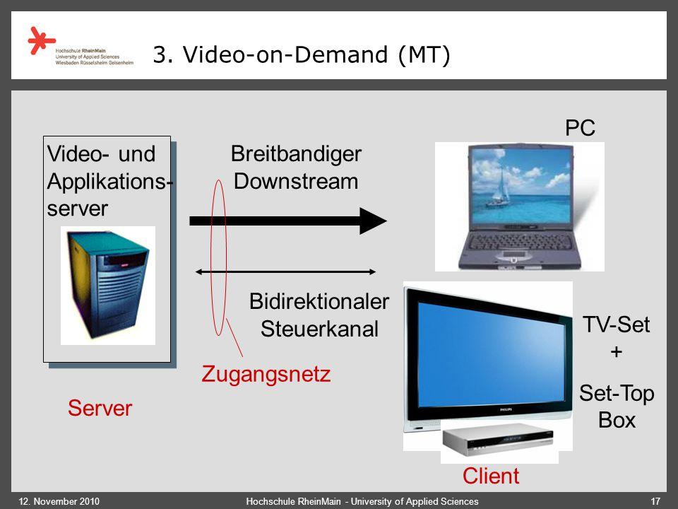Video- und Applikations- server Breitbandiger Downstream