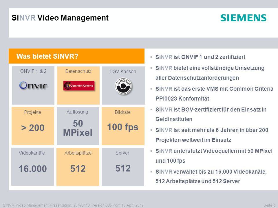 50 MPixel > fps SiNVR Video Management