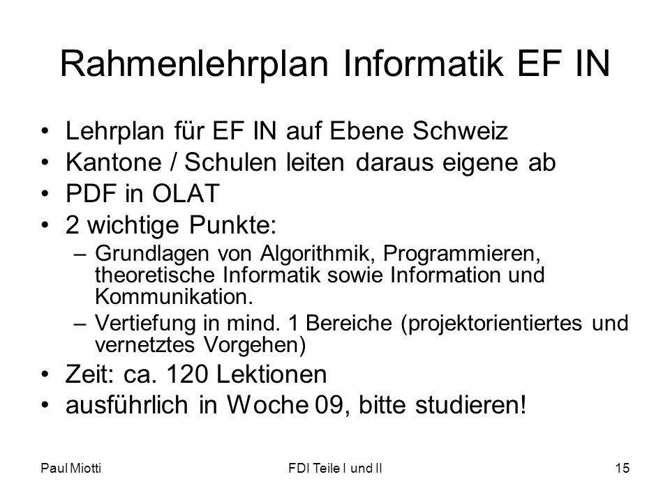 Rahmenlehrplan Informatik EF IN