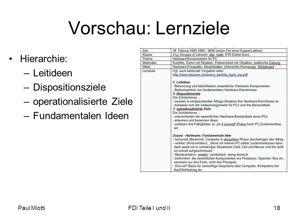 Vorschau: Lernziele Hierarchie: Leitideen Dispositionsziele