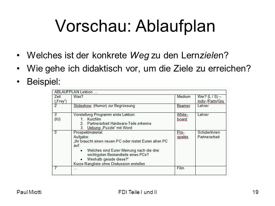 Vorschau: Ablaufplan Welches ist der konkrete Weg zu den Lernzielen