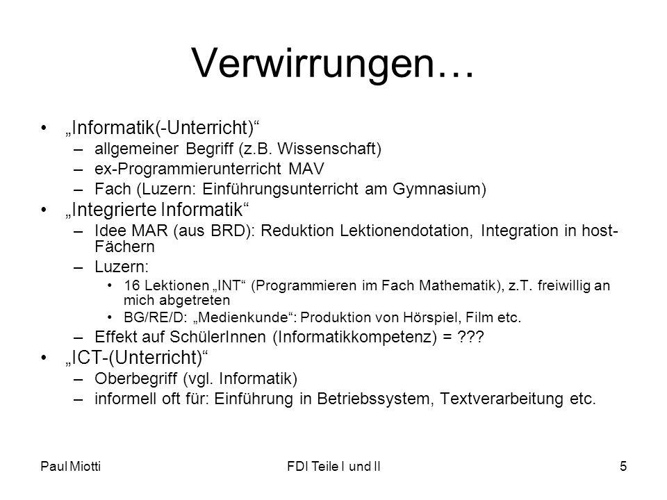 """Verwirrungen… """"Informatik(-Unterricht) """"Integrierte Informatik"""