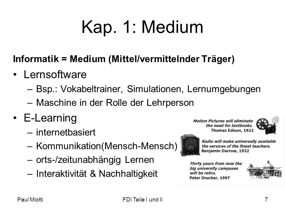 Kap. 1: Medium Lernsoftware E-Learning