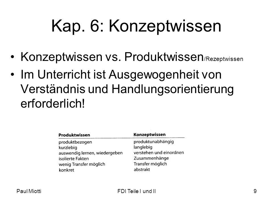 Kap. 6: Konzeptwissen Konzeptwissen vs. Produktwissen/Rezeptwissen