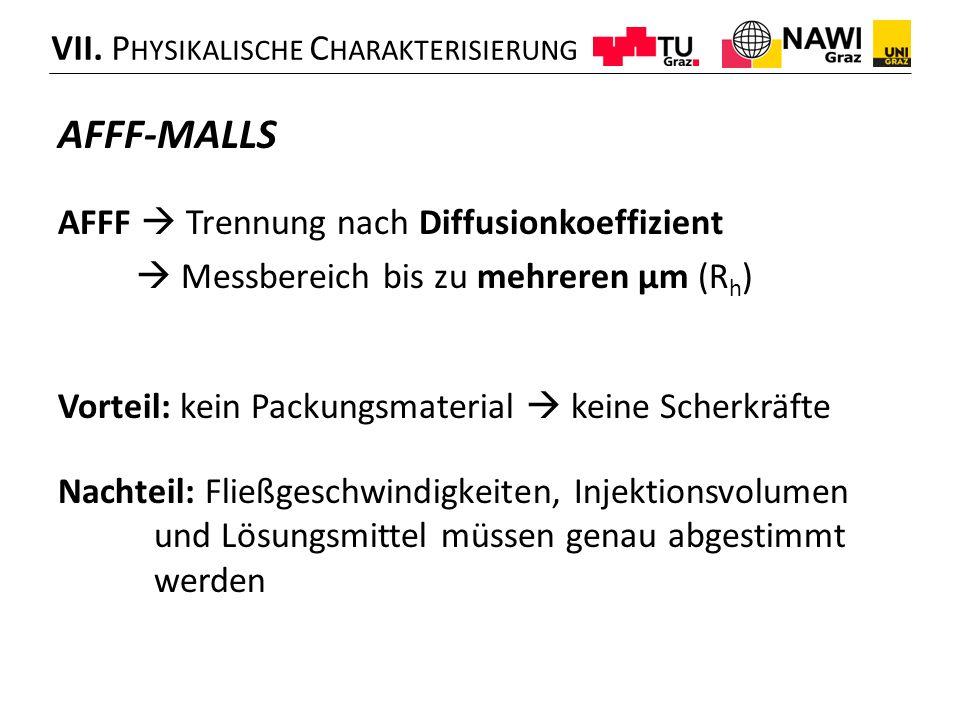 AFFF-MALLS VII. Physikalische Charakterisierung