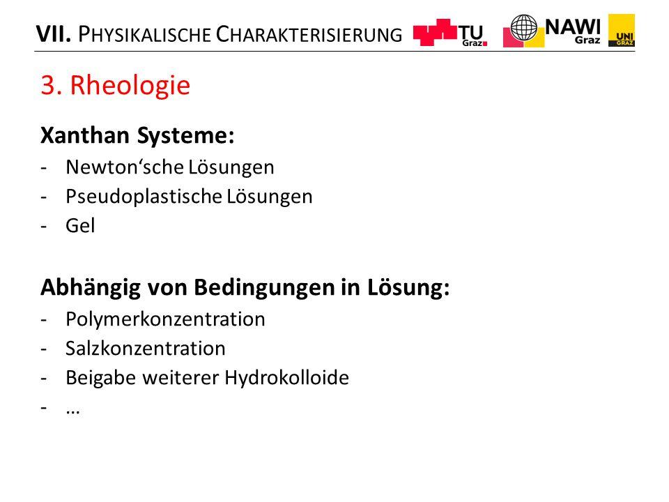 3. Rheologie VII. Physikalische Charakterisierung Xanthan Systeme: