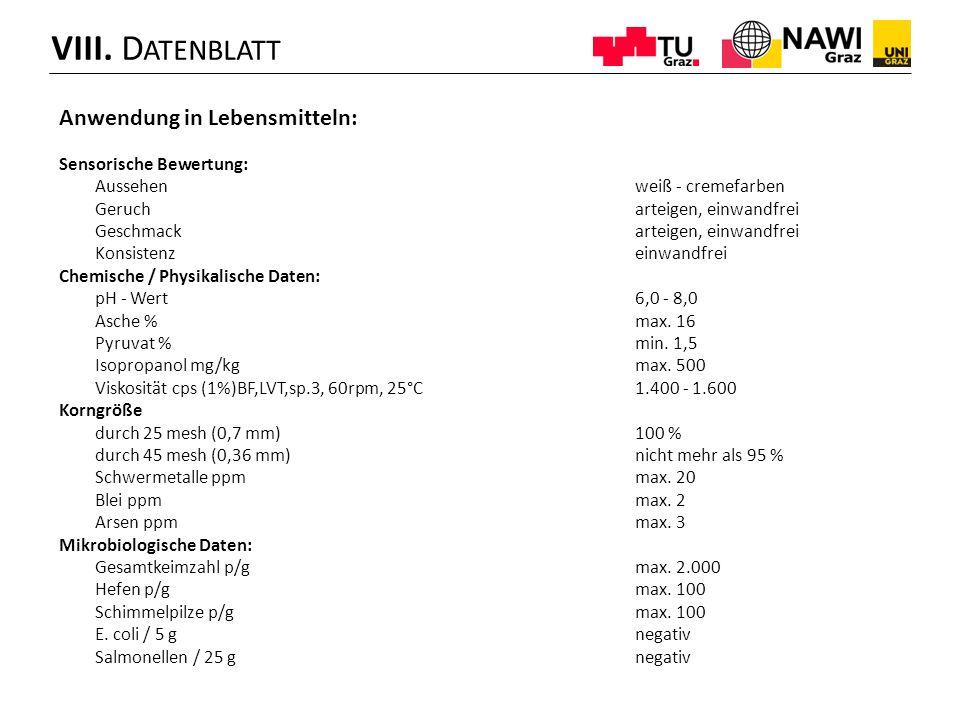 VIII. Datenblatt Anwendung in Lebensmitteln: Sensorische Bewertung: