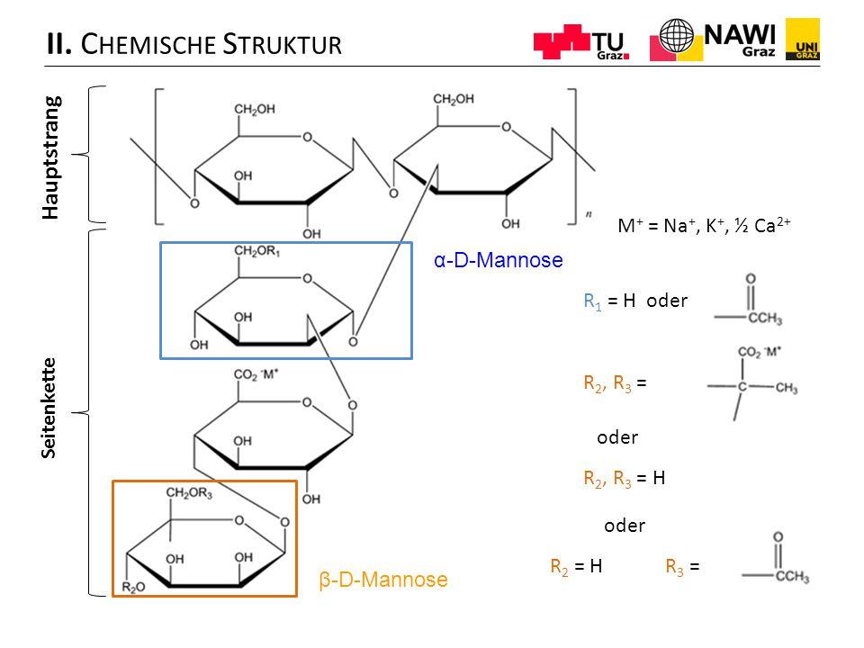 II. Chemische Struktur Hauptstrang M+ = Na+, K+, ½ Ca2+ α-D-Mannose