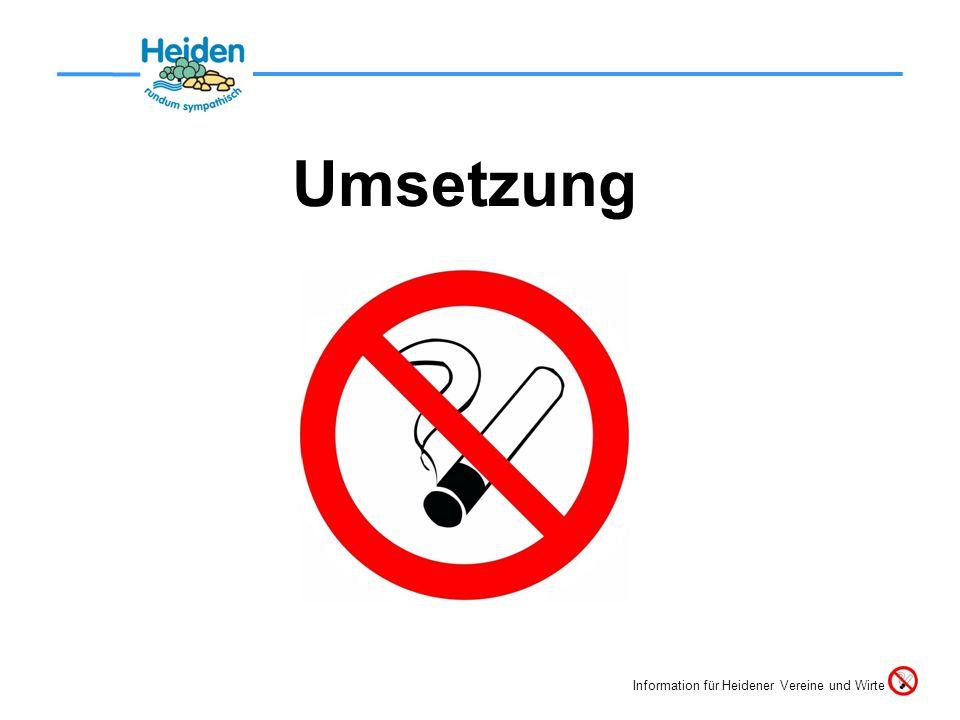Umsetzung Information für Heidener Vereine und Wirte