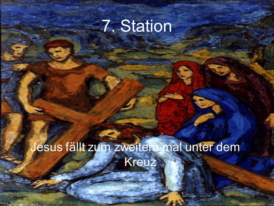 Jesus fällt zum zweitem mal unter dem Kreuz
