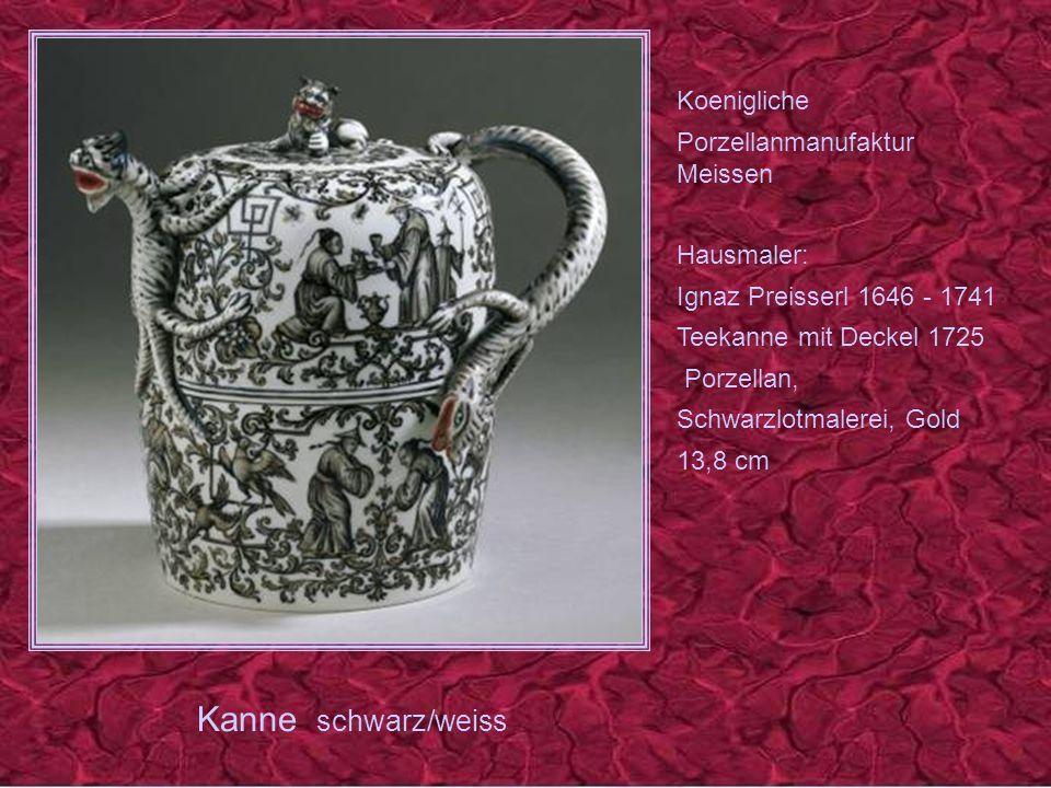 Kanne schwarz/weiss Koenigliche Porzellanmanufaktur Meissen Hausmaler: