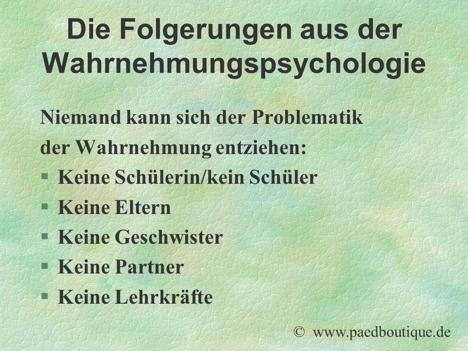 Die Folgerungen aus der Wahrnehmungspsychologie