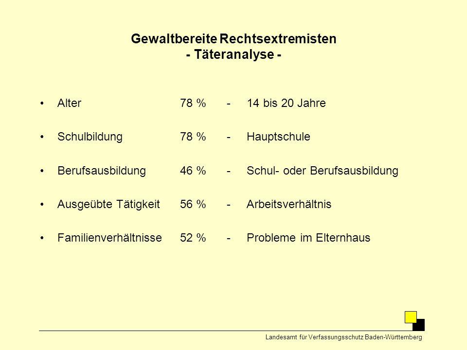 Gewaltbereite Rechtsextremisten - Täteranalyse -