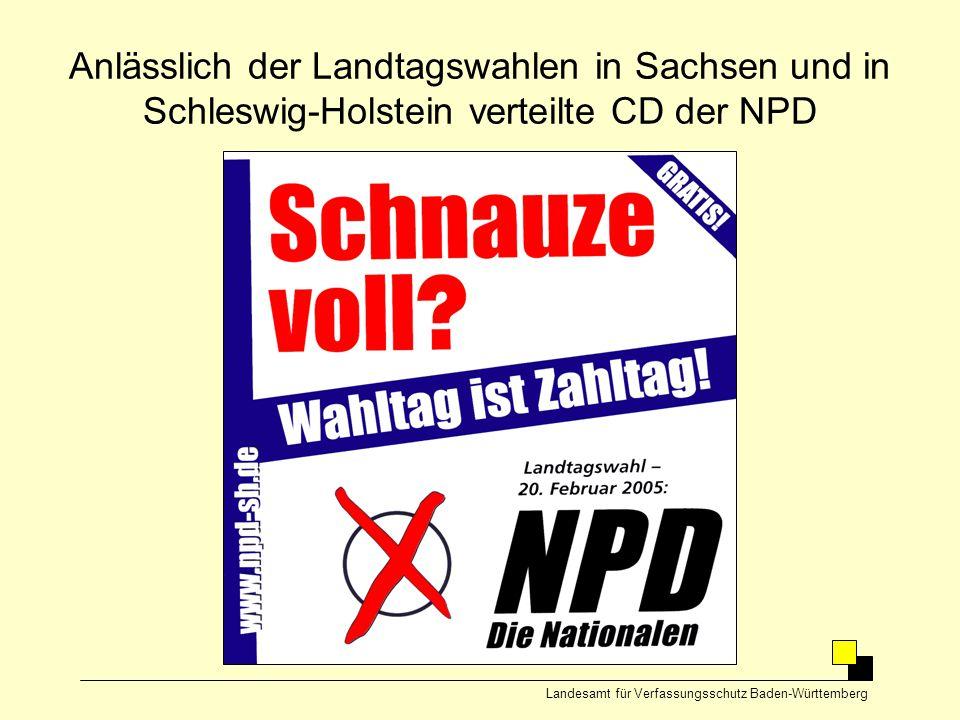 Anlässlich der Landtagswahlen in Sachsen und in Schleswig-Holstein verteilte CD der NPD