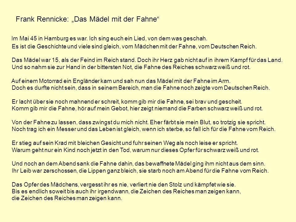 """Frank Rennicke: """"Das Mädel mit der Fahne"""