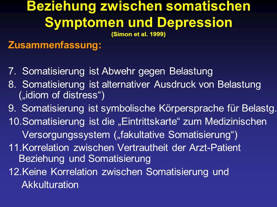 Beziehung zwischen somatischen Symptomen und Depression (Simon et al