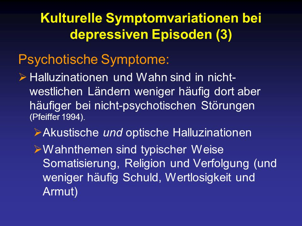 Kulturelle Symptomvariationen bei depressiven Episoden (3)