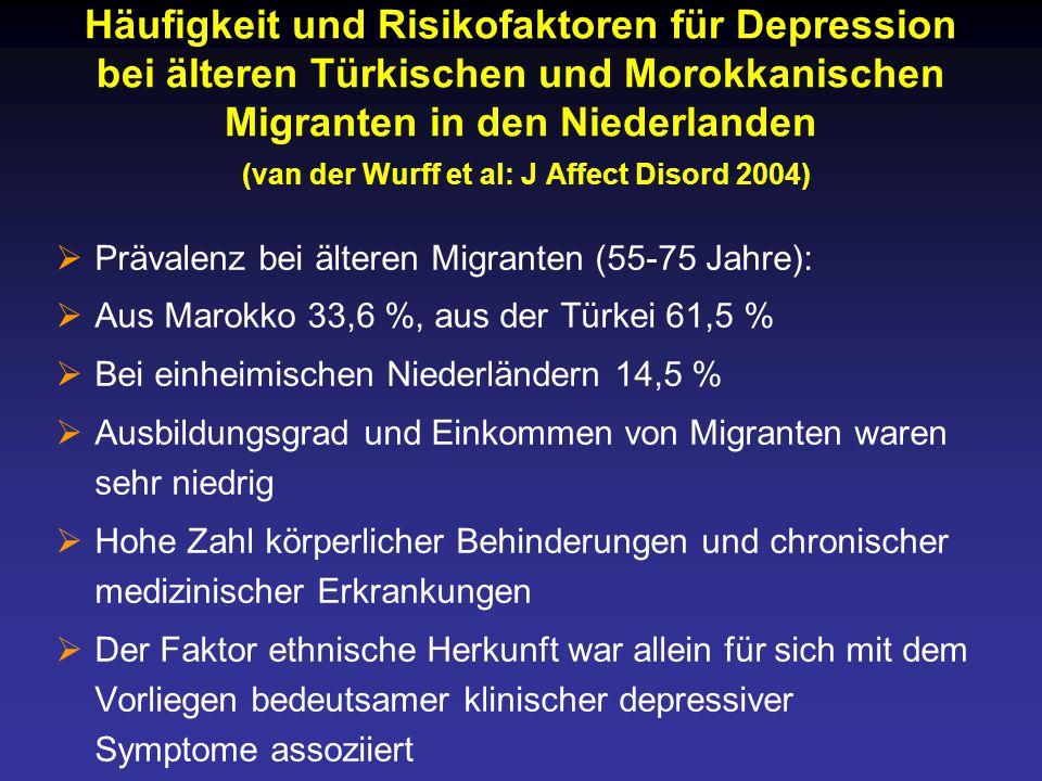 Häufigkeit und Risikofaktoren für Depression bei älteren Türkischen und Morokkanischen Migranten in den Niederlanden (van der Wurff et al: J Affect Disord 2004)