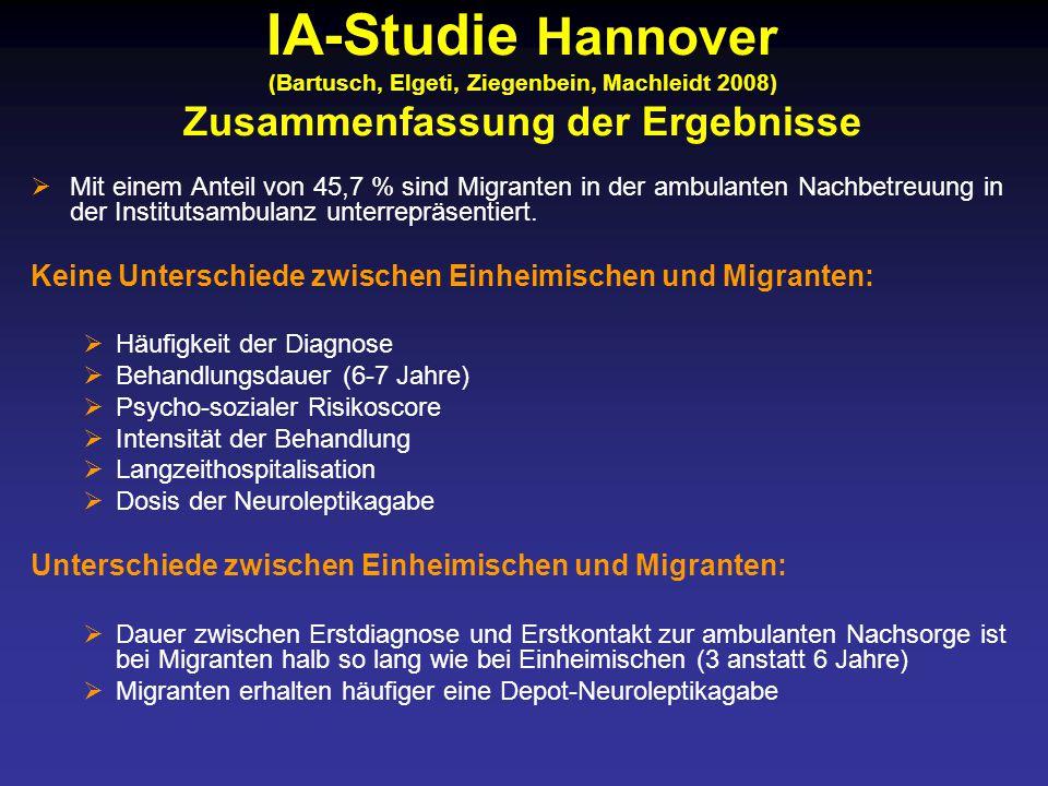 IA-Studie Hannover (Bartusch, Elgeti, Ziegenbein, Machleidt 2008) Zusammenfassung der Ergebnisse
