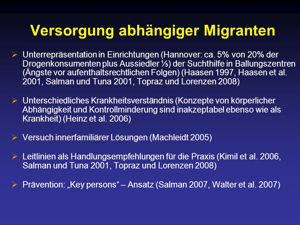 Versorgung abhängiger Migranten