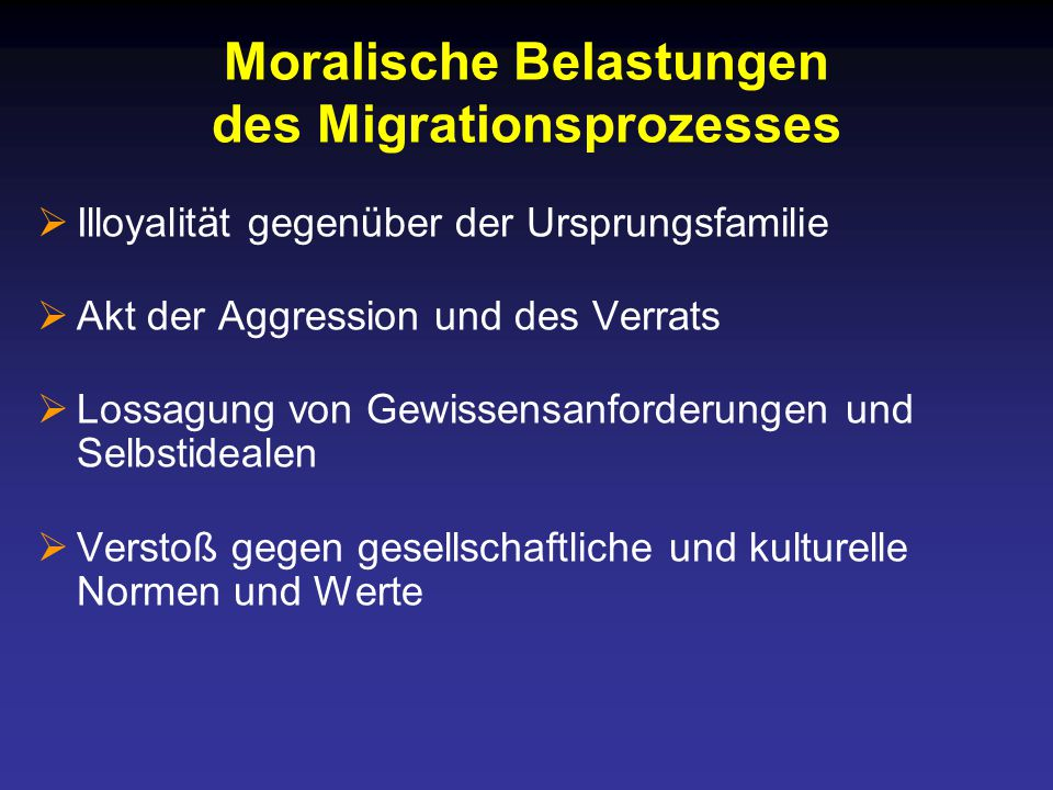 Moralische Belastungen des Migrationsprozesses
