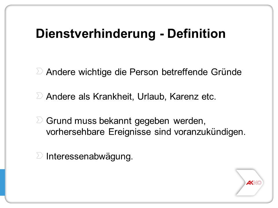 Dienstverhinderung - Definition