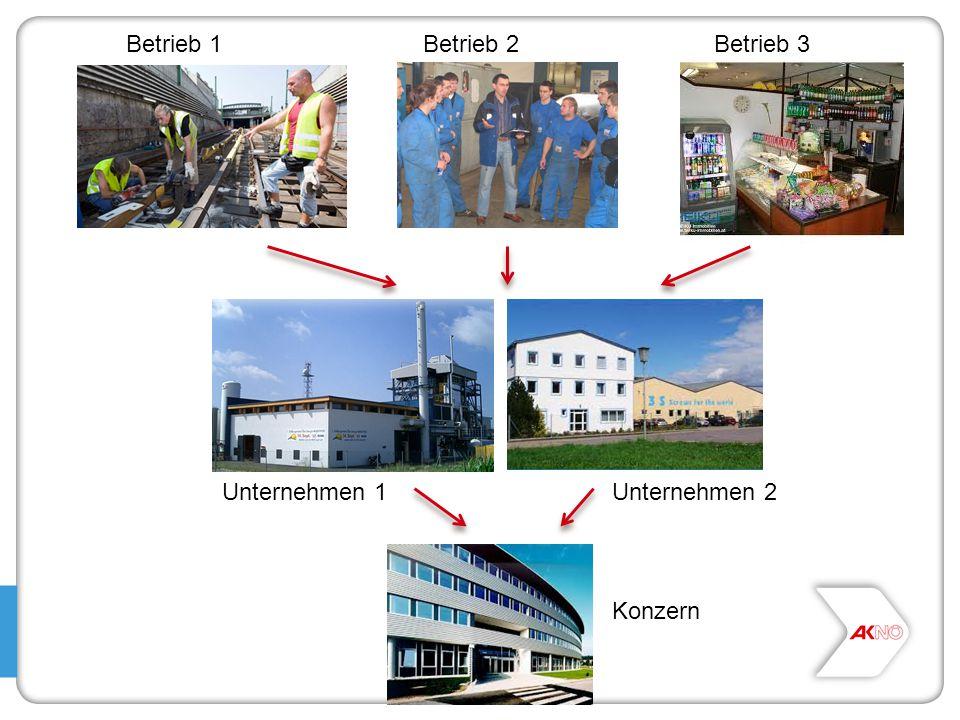 Betrieb 1 Betrieb 2 Betrieb 3 Unternehmen 1 Unternehmen 2 Konzern