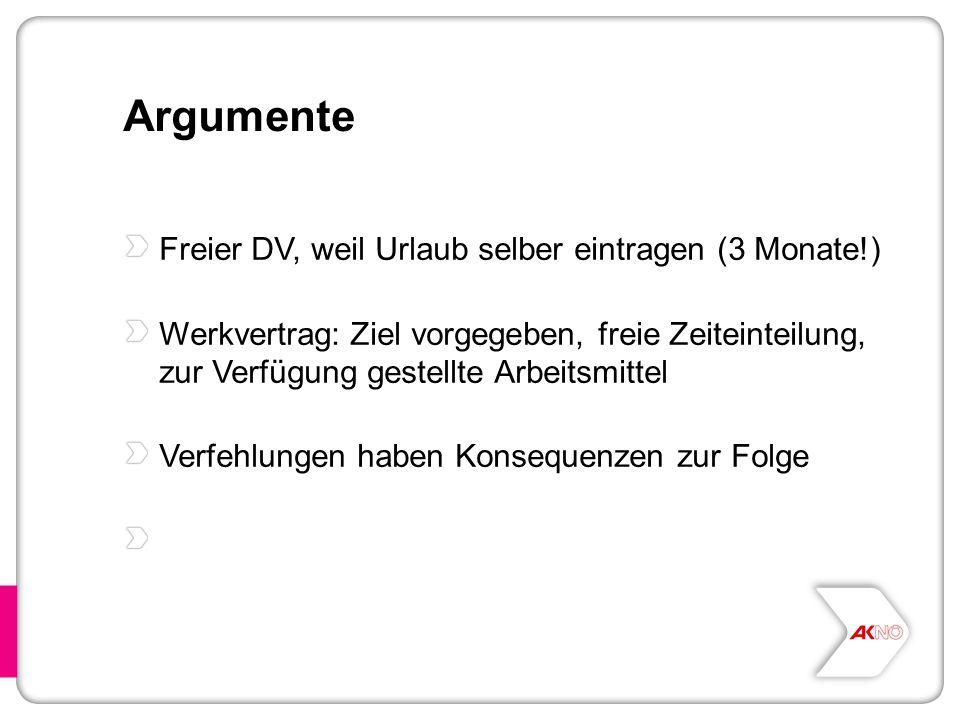 Argumente Freier DV, weil Urlaub selber eintragen (3 Monate!)