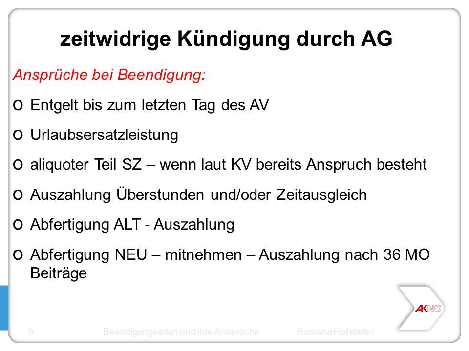 zeitwidrige Kündigung durch AG