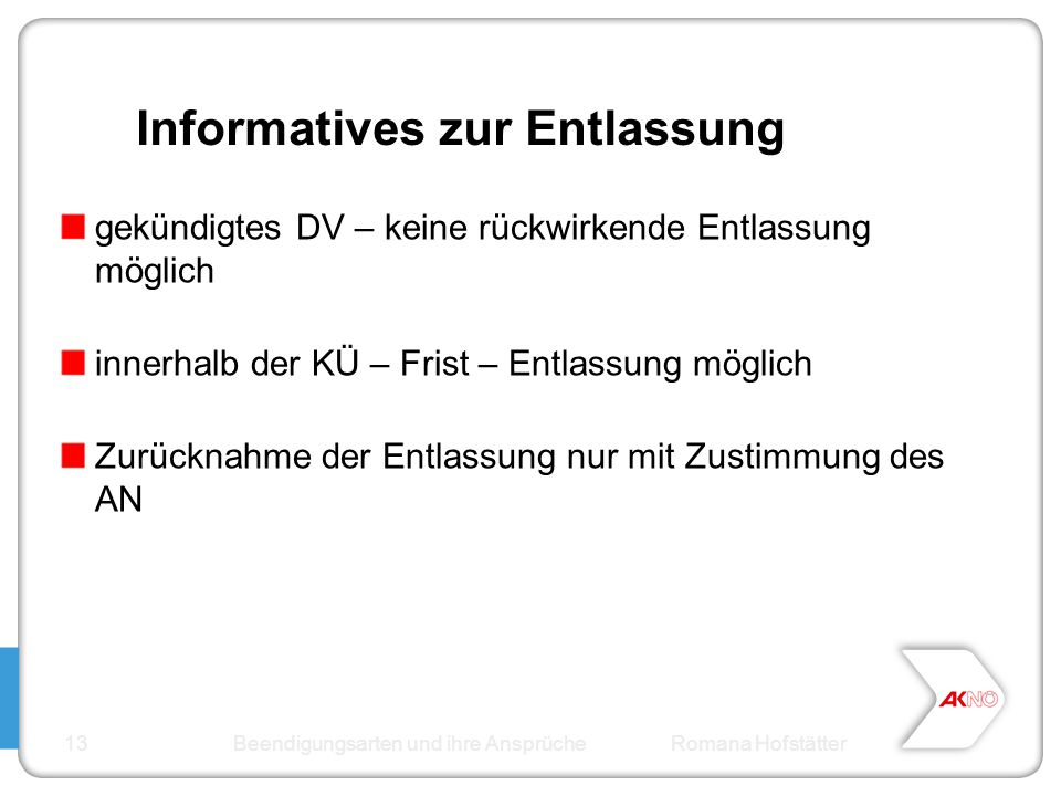Informatives zur Entlassung