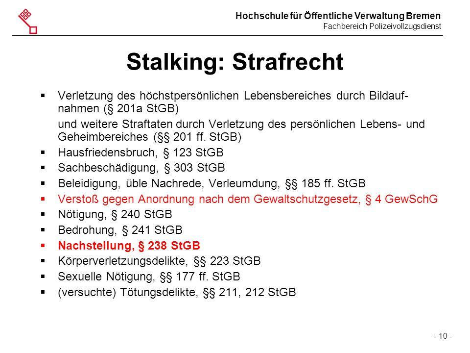 Stalking: Strafrecht Verletzung des höchstpersönlichen Lebensbereiches durch Bildauf-nahmen (§ 201a StGB)