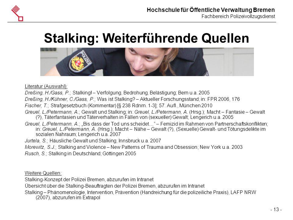 Stalking: Weiterführende Quellen