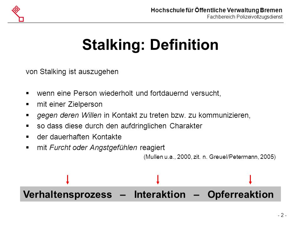 Stalking: Definition Verhaltensprozess – Interaktion – Opferreaktion