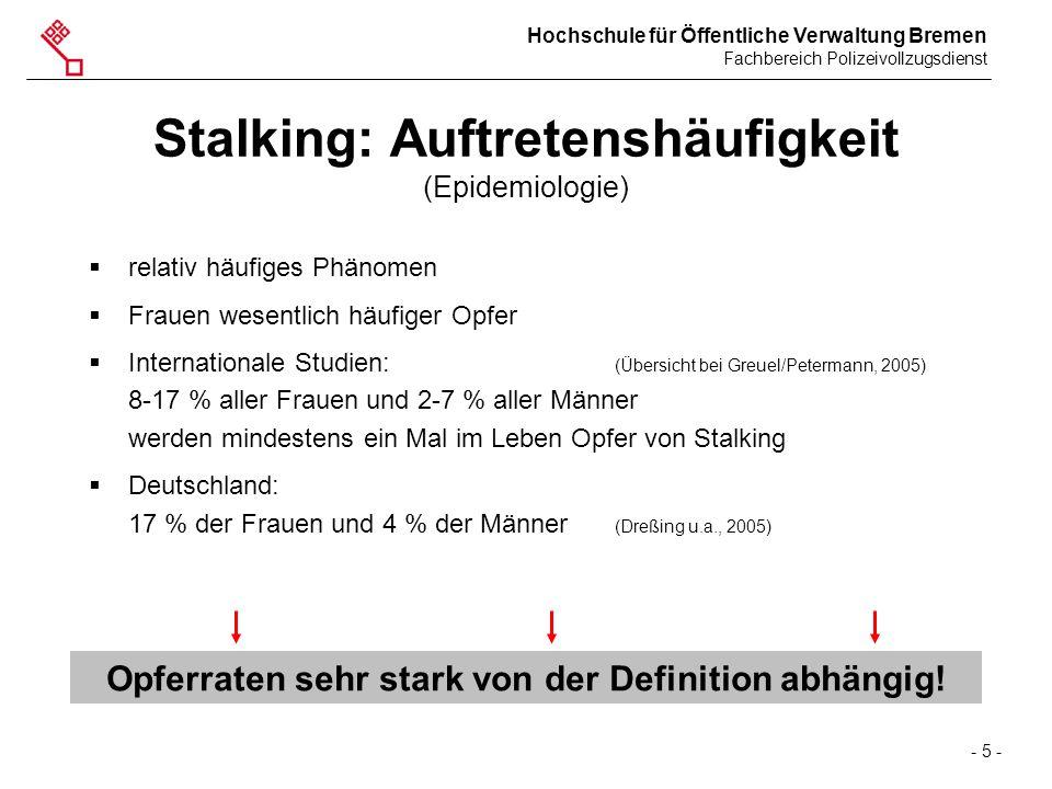 Stalking: Auftretenshäufigkeit (Epidemiologie)