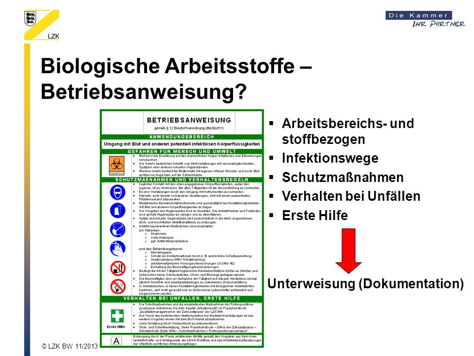Biologische Arbeitsstoffe – Betriebsanweisung