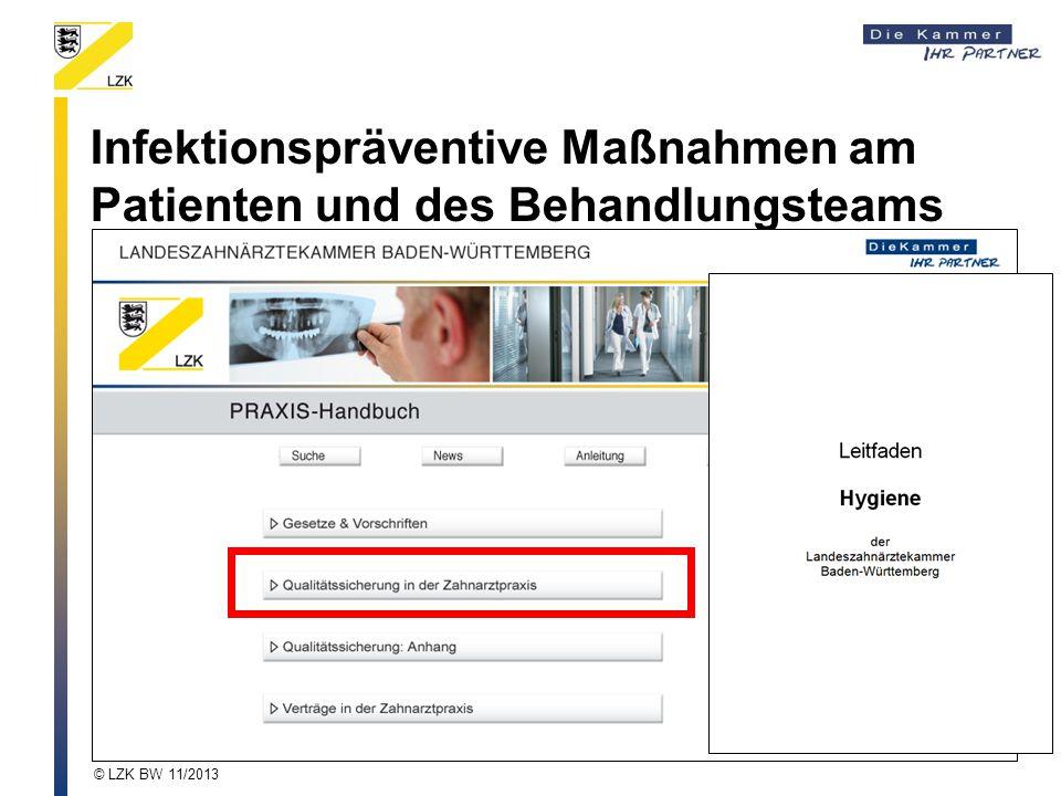 Infektionspräventive Maßnahmen am Patienten und des Behandlungsteams