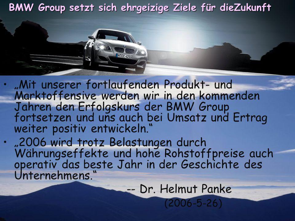 BMW Group setzt sich ehrgeizige Ziele für dieZukunft