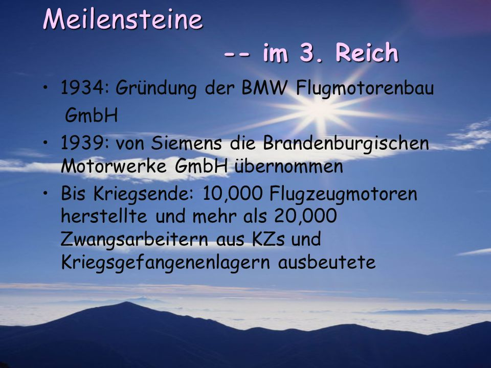 Meilensteine -- im 3. Reich