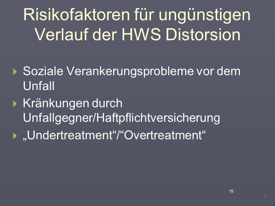 Risikofaktoren für ungünstigen Verlauf der HWS Distorsion