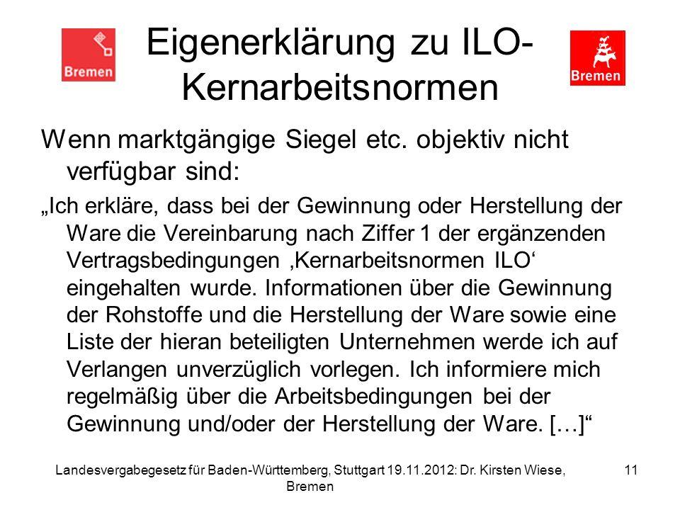 Eigenerklärung zu ILO- Kernarbeitsnormen