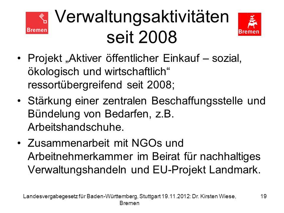 Verwaltungsaktivitäten seit 2008
