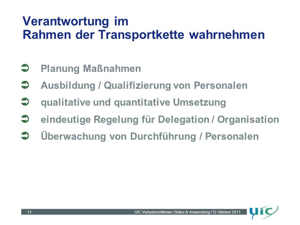 Verantwortung im Rahmen der Transportkette wahrnehmen